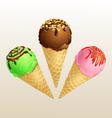 Ice cream three cone vector image