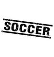 square grunge black soccer stamp vector image