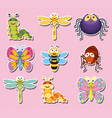 sticker design with cute bugs and insects vector image