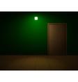 Very dark room with door vector image