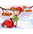 An elf holding a bag of gifts vector image