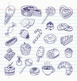 freehand drawing sweetness items vector image