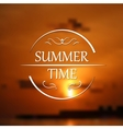 Summer holidays poster with sunset blurred vector image