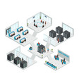 datacenter isometric multistore composition vector image