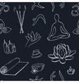 Hand drawn doodle seamless pattern yoga symbols vector image