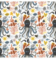 handdrawn sea pattern with various marine vector image