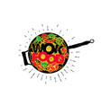 wok pan asian fast food hand drawn typography vector image