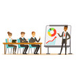 businessman in suit making presentation and vector image