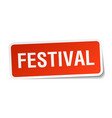 Festival square sticker on white vector image