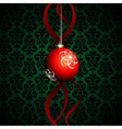 Christmas ball with green background vector image vector image
