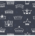 Seamless pattern with hand drawn crowns on dark vector image
