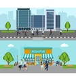 People Go To Work Banner vector image