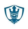 neptune skull trident crown crest icon vector image
