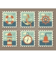 retro marine stamps vector image