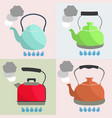 set of kettle boils with water flat style vector image