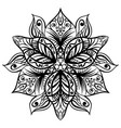 zentangle style black flower sketch vector image