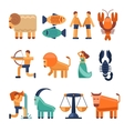Zodiac signs in flat style and astrological icons vector image
