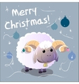 Greeting Card with sheep Text Merry Christmas and vector image vector image