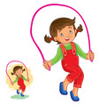 little girl jumping rope vector image