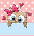 cute cartoon owl girl is holding a placard vector image