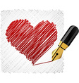 Scribbled heart shape vector image