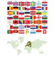 european flags and world map vector image vector image