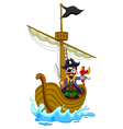 funny pirate cartoon above ship vector image