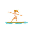 beautiful girl surfing water extreme sport vector image