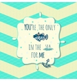 card with cute fish and anchor in text box on vector image