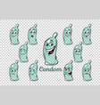 condom emotions characters collection set vector image