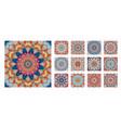 flower pattern tile blue yellow orange mandala vector image