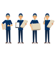 Full length portrait of delivery man in blue vector image