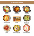 korean cuisine flat collection of dishes on vector image