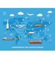 Logistics flat global transportation concept vector image