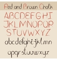 Red and brown chalk alphabet vector image
