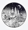 snowy winter landscape the village chapel and vector image