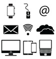 Technology icons set with tablet mobile phone vector image