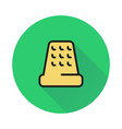 thimble for hand sewing icon on round background vector image