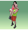 funny cartoon man holding a woman on his hands vector image