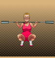 cartoon unsportsmanlike woman squatting vector image vector image