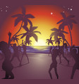 sunset beach party vector image vector image