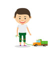 little boy shows his toy car vector image