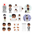 set boys character creation set icons with vector image