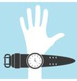 Cartoon hand with watch vector image vector image
