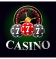 Gambling icon with chips and roulette vector image vector image
