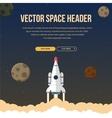 Flat rocket header background image vector image