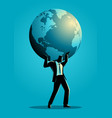 businessman carrying globe on his shoulder vector image