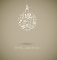 Christmas ball made from gray snowflakes on gray vector image