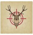 deer head on red target vintage background vector image