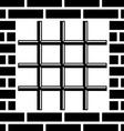 Grate prison window black symbol vector image